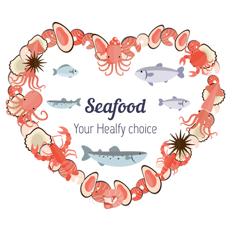 crucian: Vector set illustration of different kinds of seafood on white  background. Healthy food vector illustration background.
