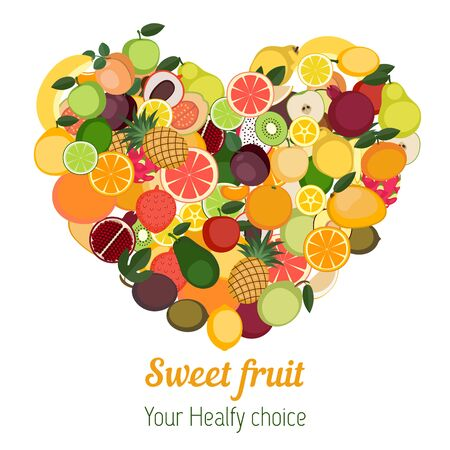 vegetarianism: Heart with different fruit icons. Healthy food vector illustration background. Vegetarianism and raw food diet.