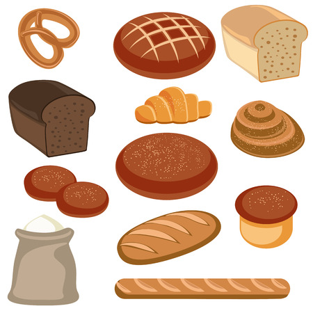 eat cartoon: Vector illustration of bakery and pastry products on white  background Illustration