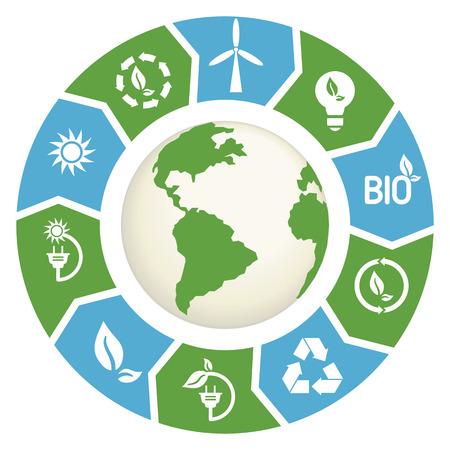 ilustración vectorial de elementos de Infografía de energía alternativas. Concepto de energía alternativa. Ilustración de vector