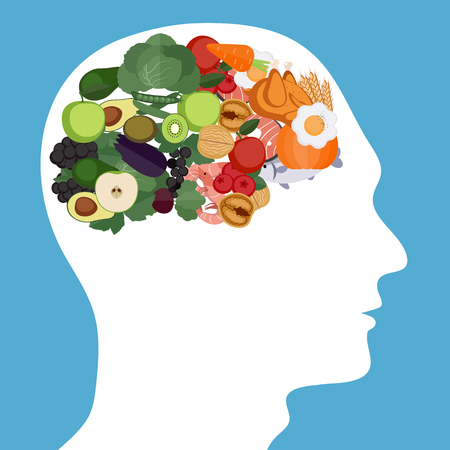 Concept of food helpful for healthy brain Çizim