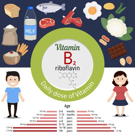 riboflavin: Vitamin B2 or  Riboflavin and vector set of vitamin B2 rich foods. Healthy lifestyle and diet concept.  Daily doze of vitamin B2. Illustration