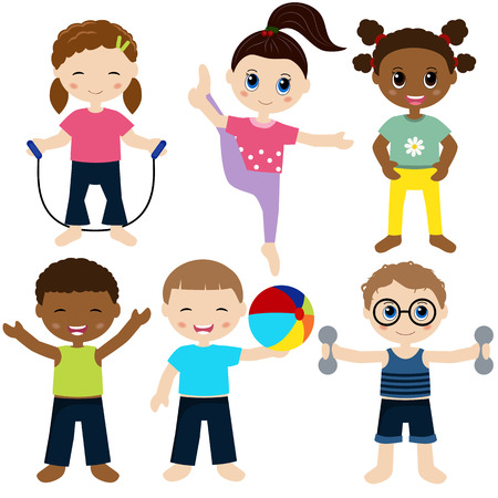 baby development: Illustration of children playing sports Illustration