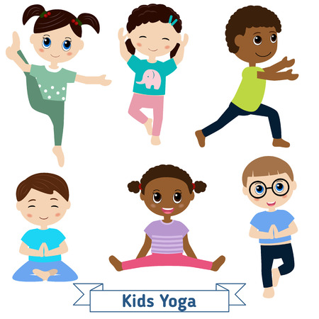 game boy: Children doing yoga in different positions