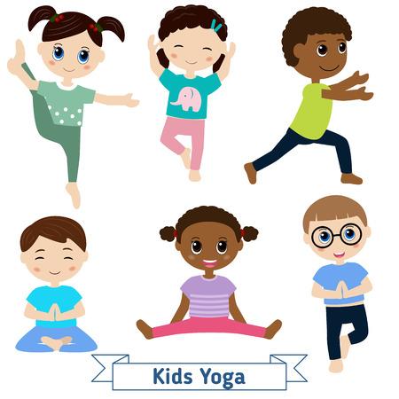 Kinderen doen yoga in verschillende posities Vector Illustratie