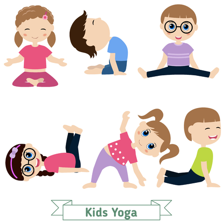 cute girl cartoon: Children doing yoga in different positions