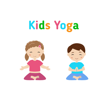 girl  child: Children doing yoga in different positions