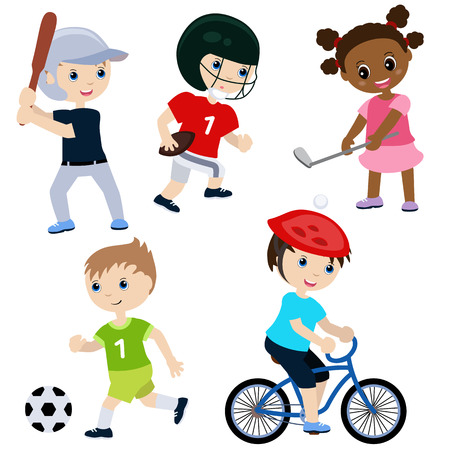 girl happy: Illustration of children playing sports. Isolated on white background. Illustration