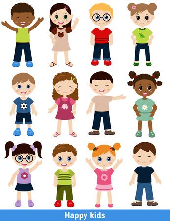 bebes ni�as: Conjunto de diferentes ni�os. Aislado en el fondo blanco.