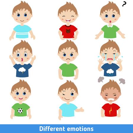 Ilustracja chłopiec twarze przedstawiające różne emocje