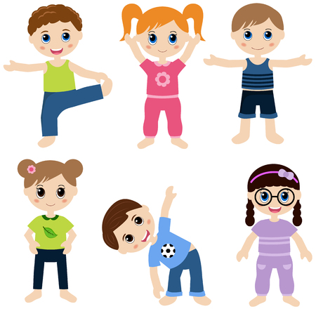 group fitness: Illustration of children playing sports Illustration