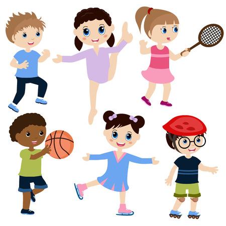 Illustration of children playing sports. Isolated on white background. Ilustração