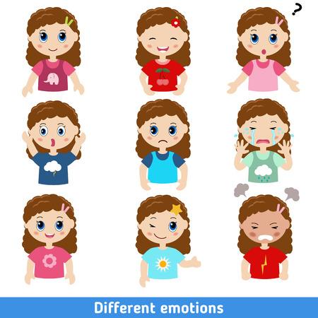 Ilustración de la muchacha rostros con distintas emociones