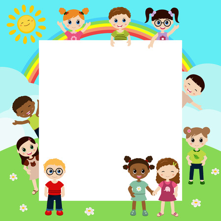 blank faces: Group of happy children with  large sheet of paper
