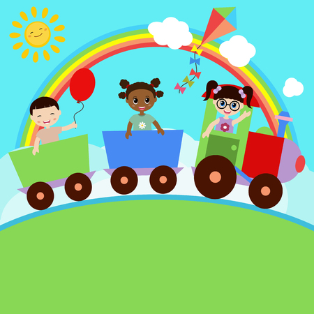 friends together: Happy kids on a colorful train. Illustration