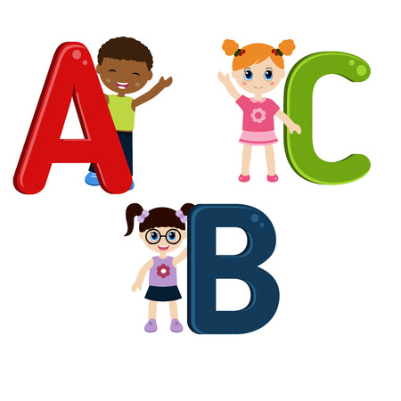 girl  child: Children with ABC. Isolated on white background.