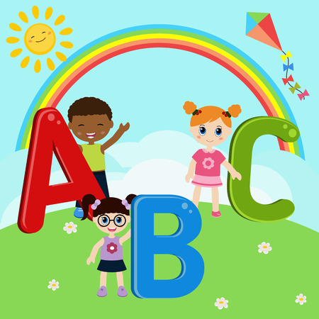 girl  child: Illustration of children with ABC