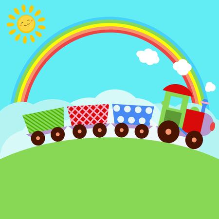 sun background: Vector illustration with cartoon locomotive