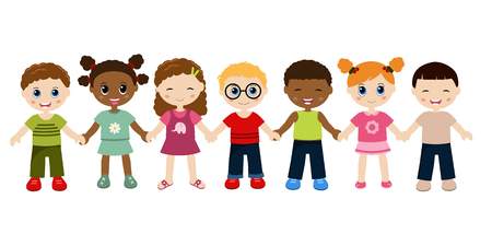 Gruppo di bambini felici si tengono per mano. Isolato su sfondo bianco.