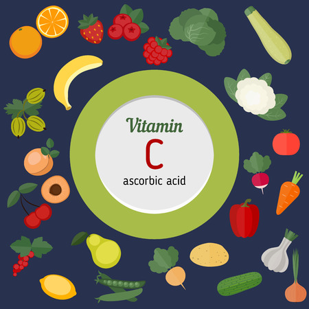 vitamin rich: Vitamin C or Cobalaminand vector set of vitamin C rich foods. Healthy lifestyle and diet concept.