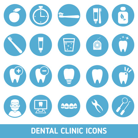 Icons of dental clinic services, stomatology, dentistry, orthodontics, oral health care and etc. Illustration