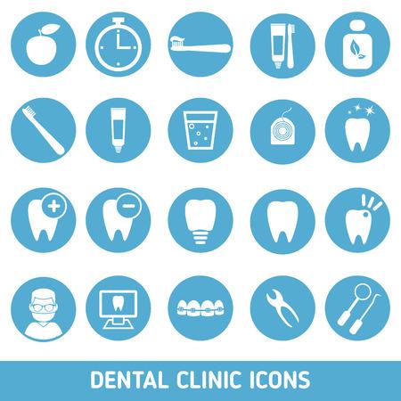 odontologa: Los iconos de los servicios dentales, clínicas de estomatología, odontología, ortodoncia, atención de la salud oral y etc.
