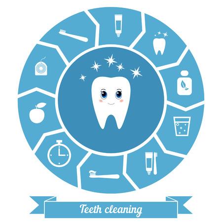 dientes sanos: diente de dibujos animados lindo. Concepto de dientes sanos.