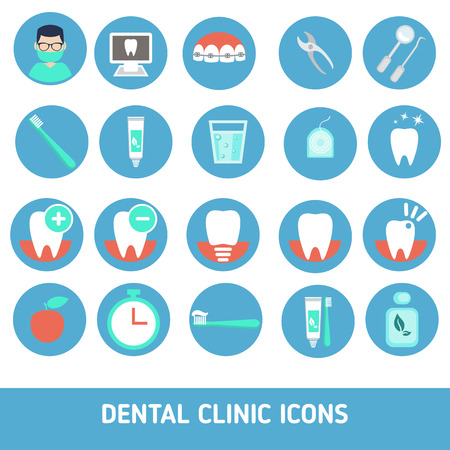 oral health: Icons of dental clinic services, stomatology, dentistry, orthodontics, oral health care and etc. Illustration