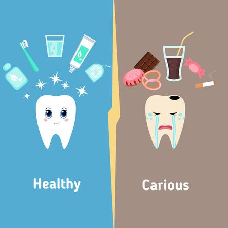 Dental cartoon vector, compare healthy and unhealthy teeth. Concept of healthy teeth. Stock Vector - 54644152
