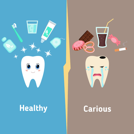 muela caricatura: vector de la historieta dental, comparar los dientes saludables y no saludables. Concepto de dientes sanos.