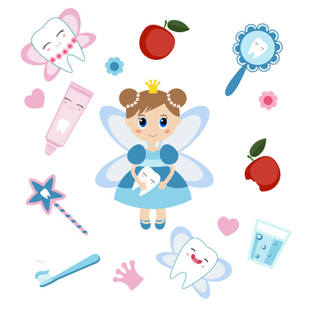 tooth icon: Little cute tooth fairy. Cartoon character. Illustration