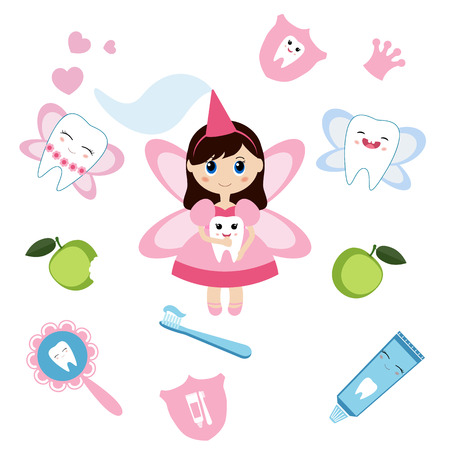 Little cute tooth fairy. Cartoon character. Illustration