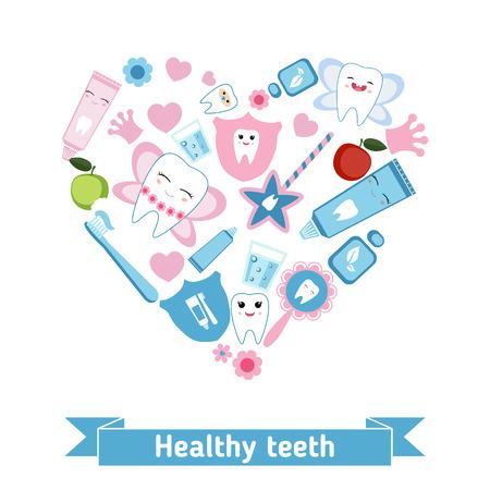 symboles de soins dentaires en forme de coeur. Tooth fairy et des dents saines.