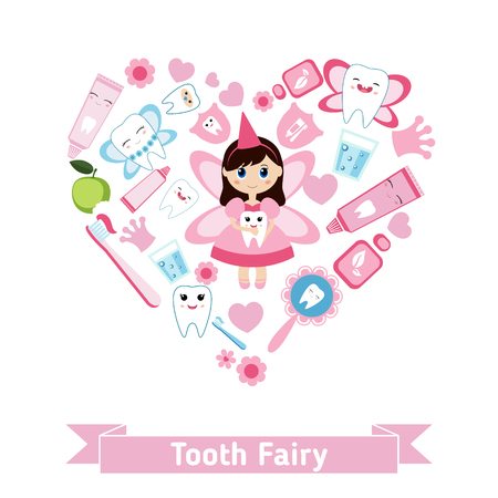 tooth fairy: Dental care symbols in the shape of heart. Tooth fairy and healthy teeth. Illustration