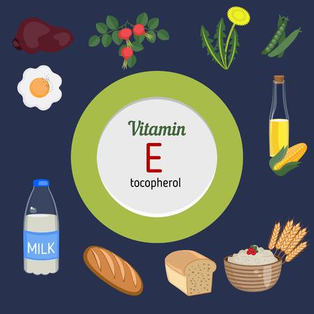La vitamine E et le vecteur mis de la vitamine E des aliments riches. mode de vie sain et le concept de régime alimentaire.