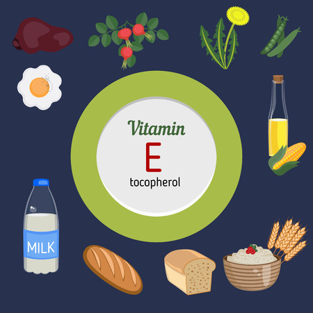 vitamin rich: Vitamin E and vector set of vitamin E rich foods. Healthy lifestyle and diet concept. Illustration