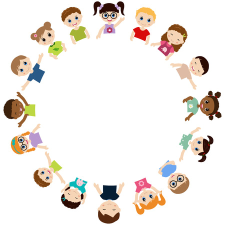 laying little: Cute little kids show a blank poster for your text entry. Vector illustration