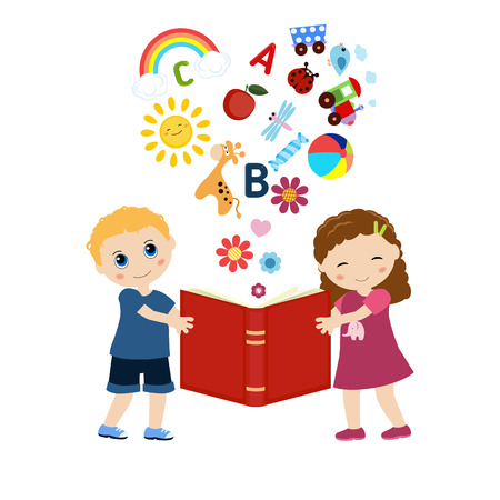 children's story: Imagination concept. Open book with childrens icons flying out