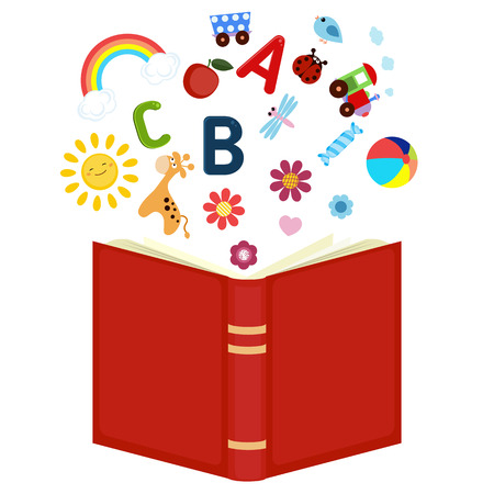 Imagination concept. Open book with children's icons flying out