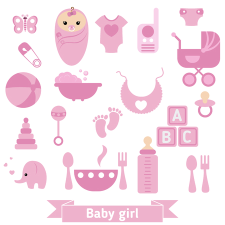girl happy: Baby girl icons set. Childbirth and motherhood. Illustration