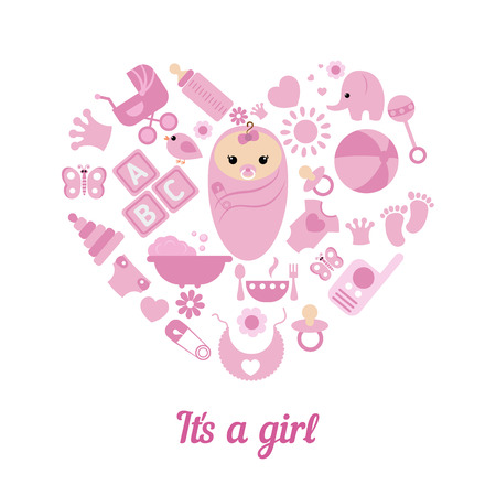 Simple baby symbols in the shape of heart. its a girl. Ilustrace