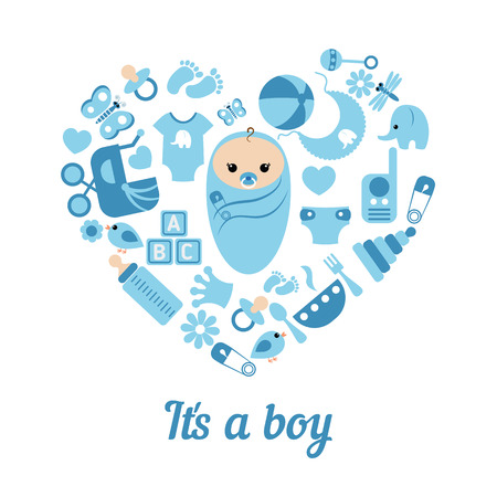 Simple baby symbols in the shape of heart. it's a boy. Reklamní fotografie - 54644610