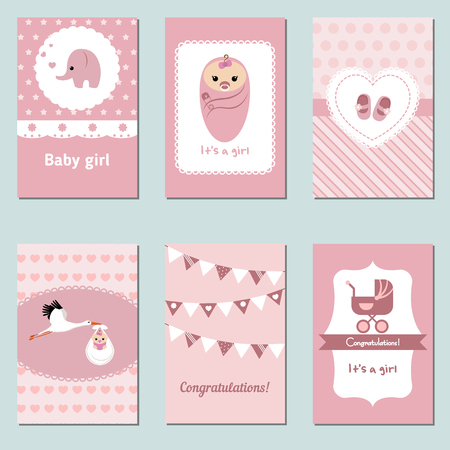 baby love: Set of beautiful Baby Girl Card for birthday, baby shower, party