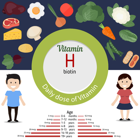 vitamin rich: Vitamin H and vector set of vitamin H rich foods. Healthy lifestyle and diet concept.