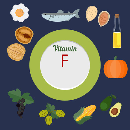 health collage: Vitamin F and vector set of vitamin F rich foods. Healthy lifestyle and diet concept.