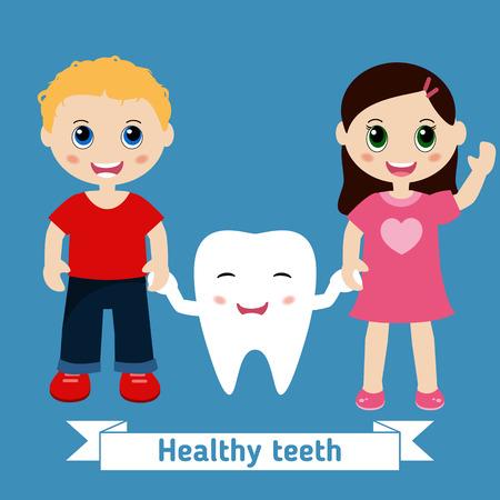 children holding hands: Dental care design. Happy children holding hands.