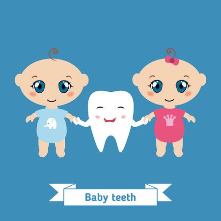 Dental care design. Happy babies holding hands.