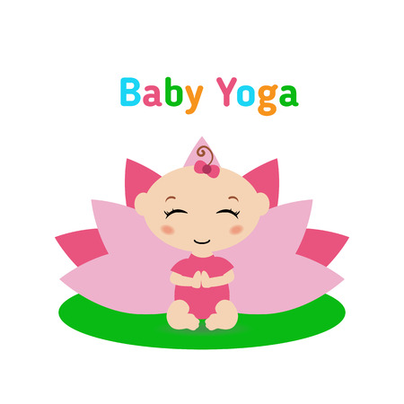 mindfulness: Baby is doing yoga and sitting in the lotus position with pink petals of a lotus flower behind. Isolated on white background Flat illustration. Illustration