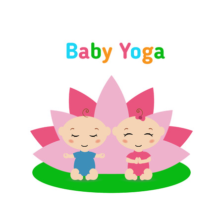 medium body: Baby is doing yoga and sitting in the lotus position with pink petals of a lotus flower behind. Isolated on white background Flat illustration. Illustration