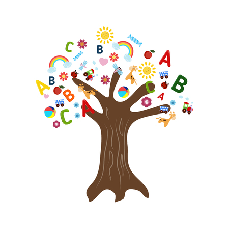 grammatical: Education concept tree with childrens icons. Tree on white background.